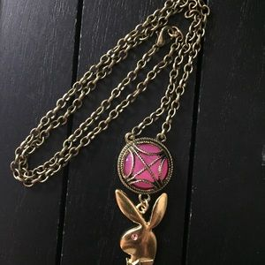 Jewelry - Pink Medallion Necklace w/ Pink Crystal Playboy